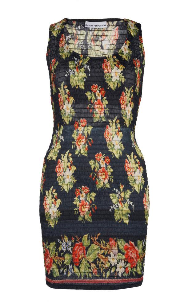 Paco Rabanne Floral-Print Smocked Mini Dress in black