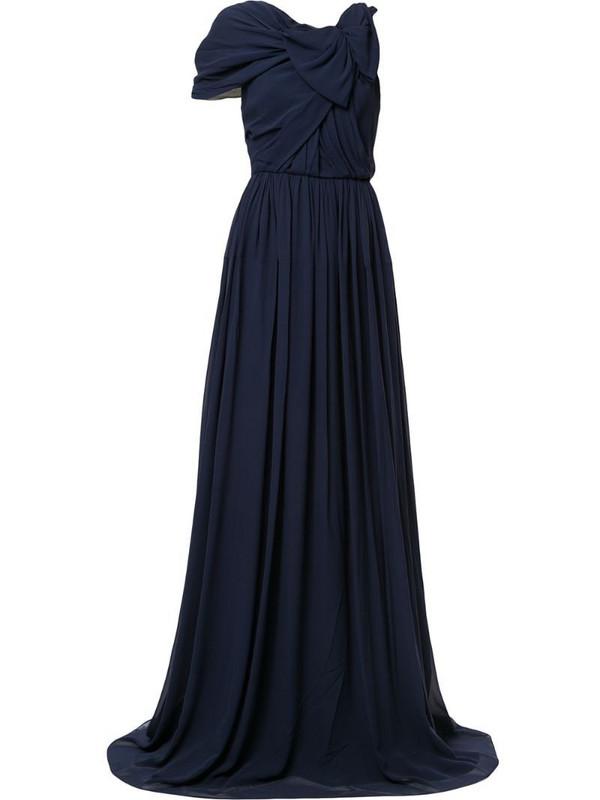 Delpozo asymmetric sleeve draped gown in blue
