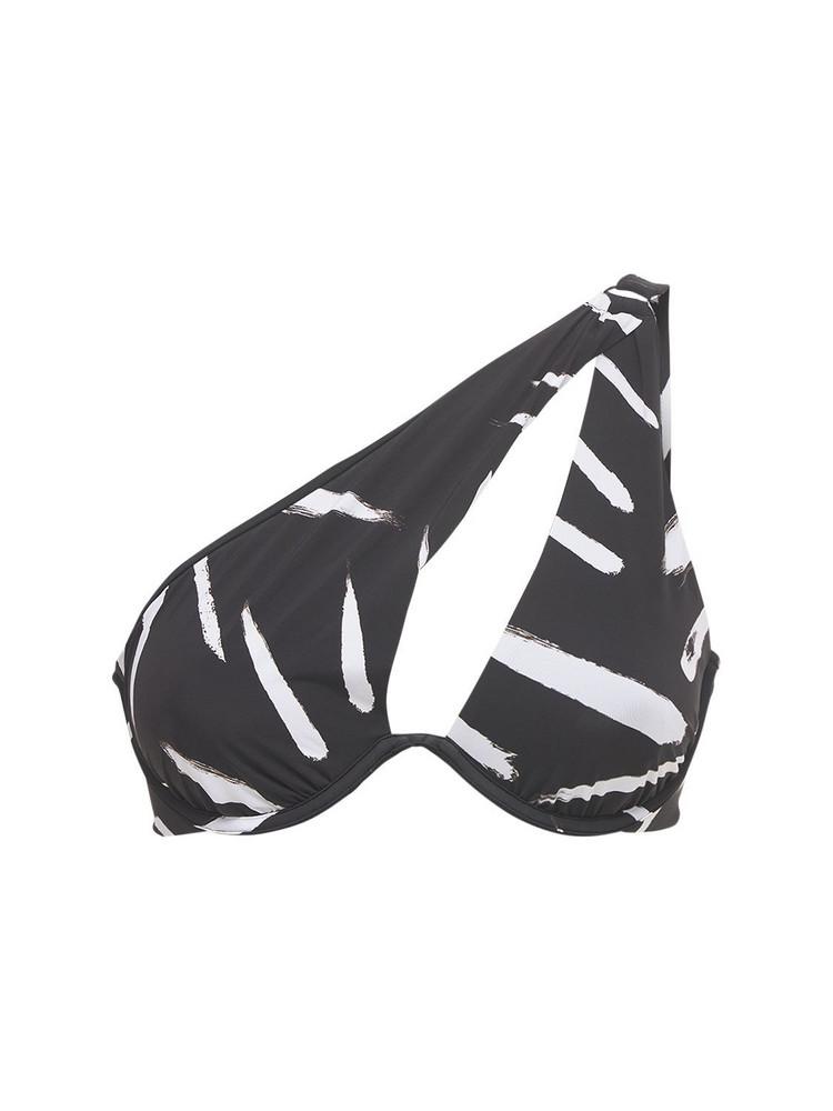 SELF-PORTRAIT Brush Stroke One Shoulder Bikini Top