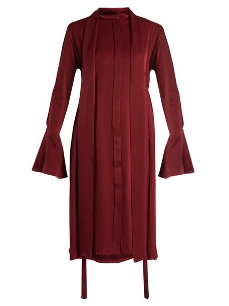 Ellery - Inez Drawstring Crepe Back Satin Dress - Womens - Burgundy