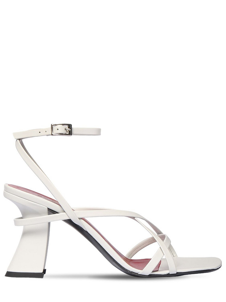 BY FAR 95mm Kersti Leather Sandals in white
