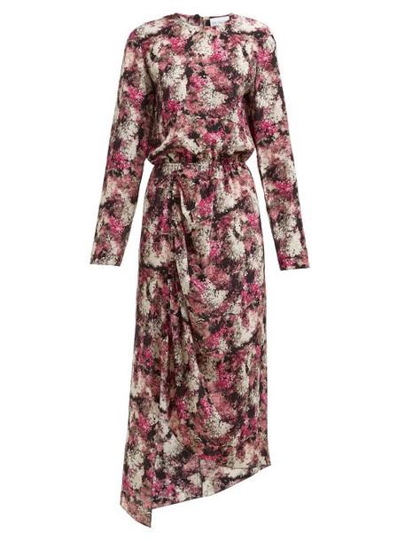 Raey - Asymmetric Ditsy Floral Print Silk Dress - Womens - Pink Print