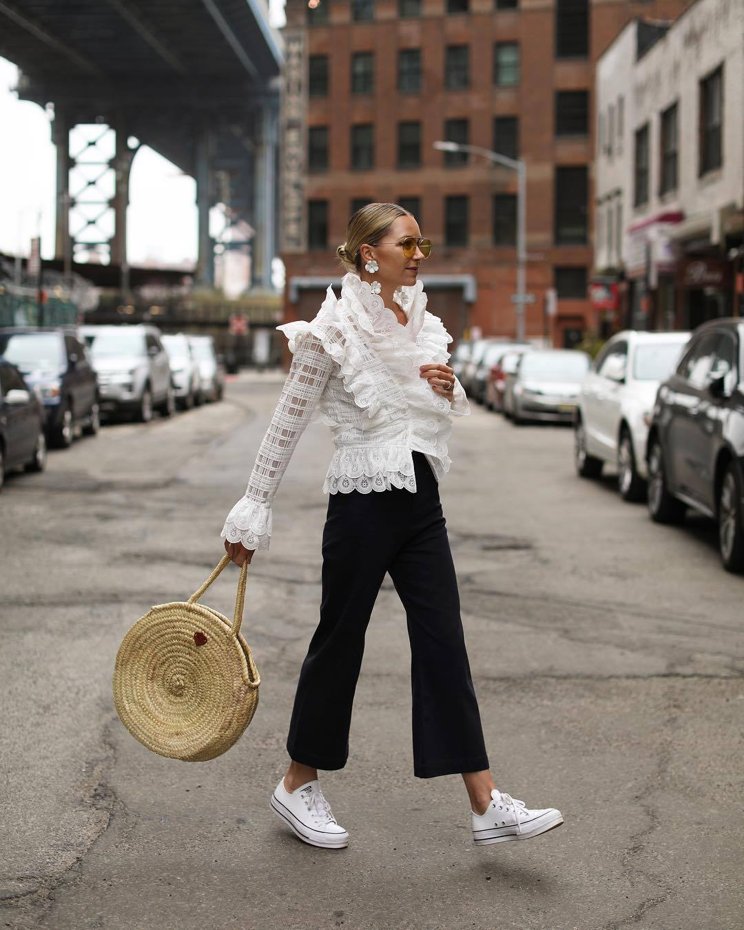 top white blouse lace top long sleeves white sneakers converse maxi bag black pants flare pants