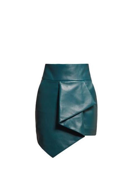 Alexandre Vauthier - High Rise Asymmetric Hem Leather Skirt - Womens - Blue