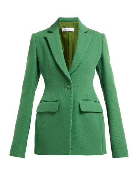 Marina Moscone - Single Breasted Basque Shaped Twill Blazer - Womens - Green