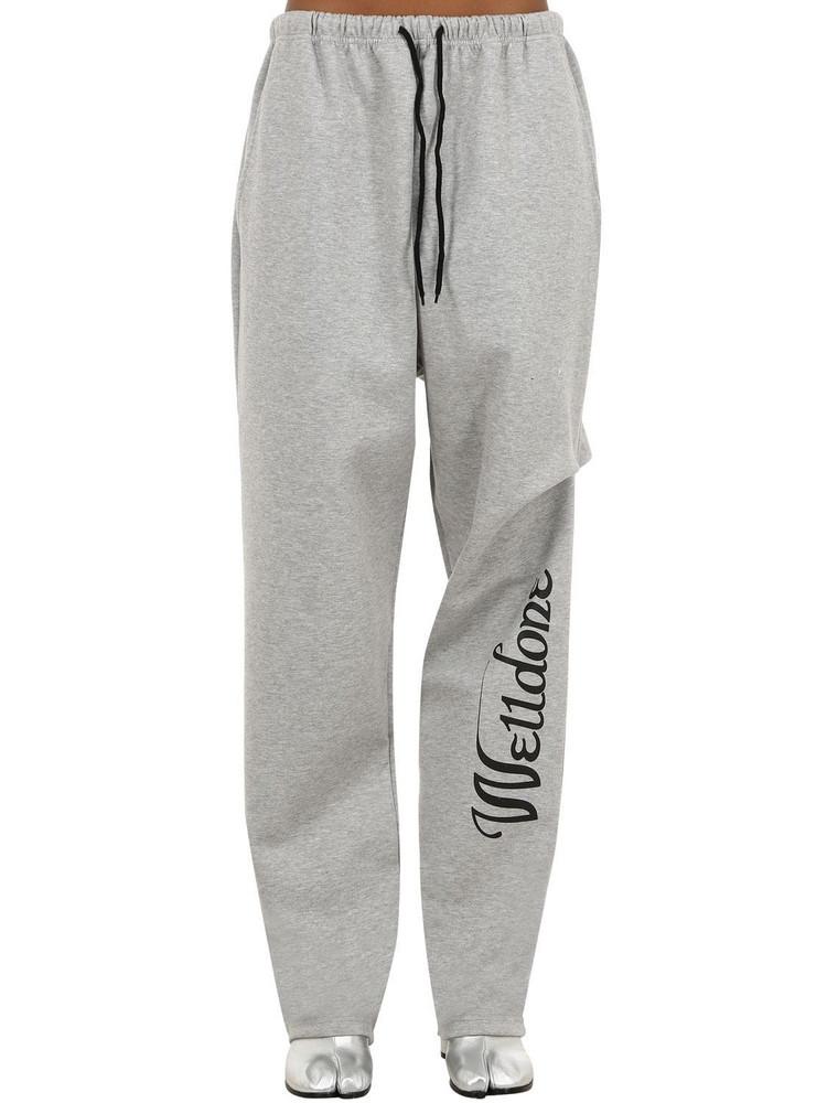 WE11 DONE Logo Print Cotton Sweatpants in grey
