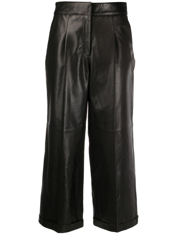 Arma cropped straight leg trousers in black
