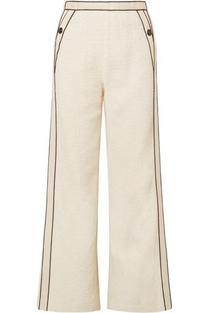 Maje - Poppy Piped Cotton-bouclé Pants - Ecru
