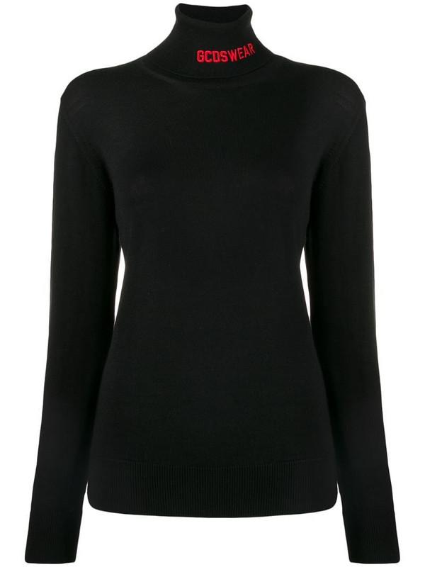 Gcds rollneck logo knit sweater in black