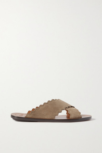 Chloé Chloé - Lauren Scalloped Suede Slides - Army green