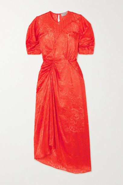 Preen by Thornton Bregazzi - Lally Ruched Devoré-satin Midi Dress - Red