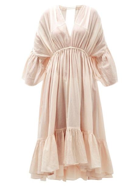 Loup Charmant - Sunrise Open-back Organic-cotton Dress - Womens - Pink
