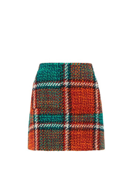 La Doublej - Checked Wool Blend Tweed Mini Skirt - Womens - Red Print