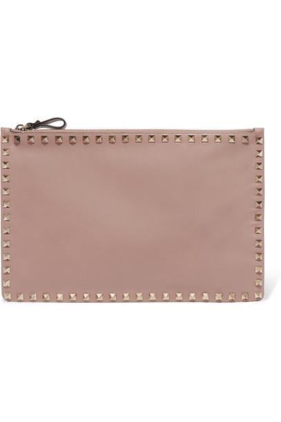 Valentino - Valentino Garavani The Rockstud Large Leather Pouch - Blush