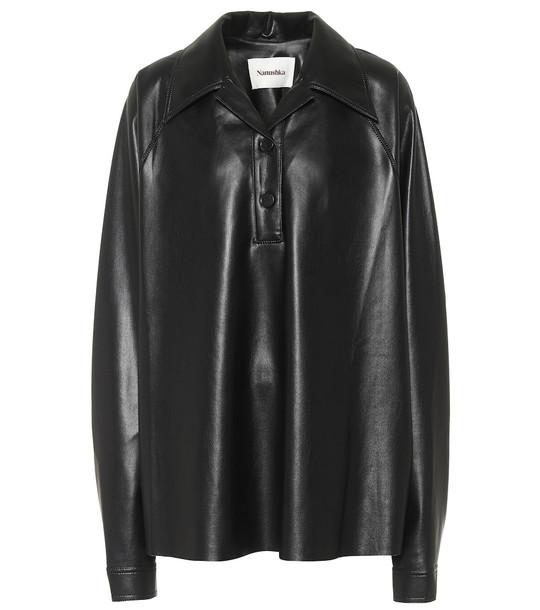 Nanushka Faux-leather shirt in black