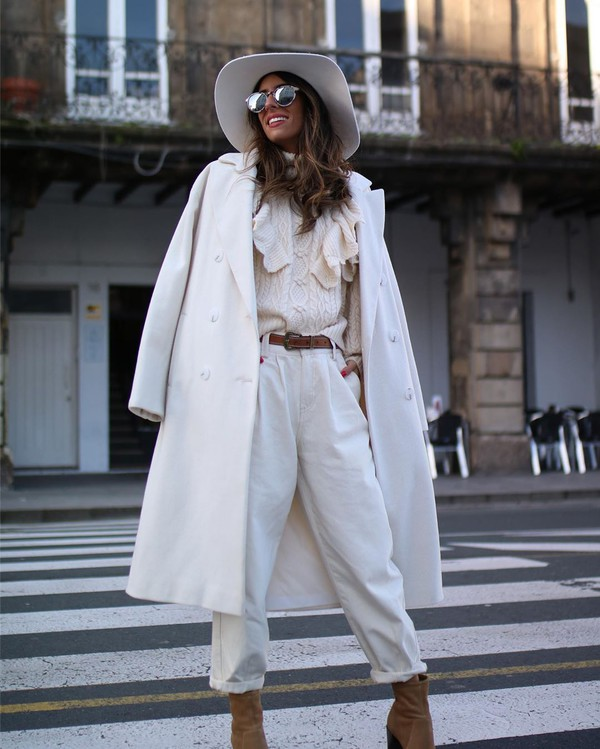 sweater knitted sweater ankle boots white coat double breasted hat