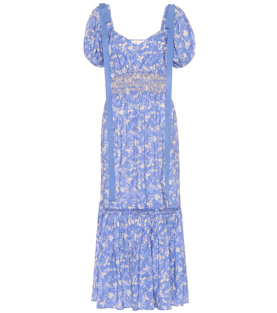 LoveShackFancy Angie floral cotton dress in blue