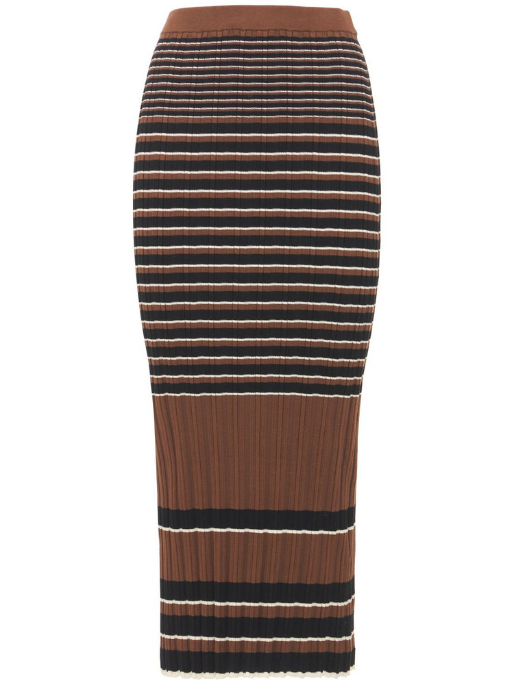 THEORY Striped Ribbed Cotton Midi Skirt in brown / white