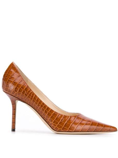 Jimmy Choo Love 85mm crocodile-effect pumps in brown