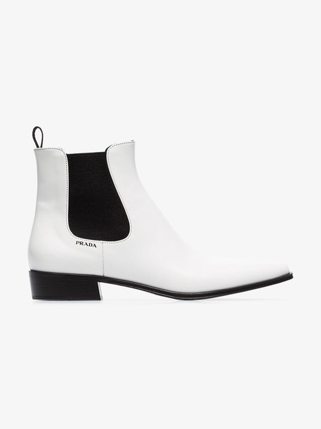Prada white cowboy 30 leather ankle boots