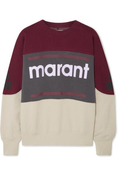Isabel Marant Étoile - Gallian Flocked Cotton-blend Fleece Sweatshirt - Burgundy