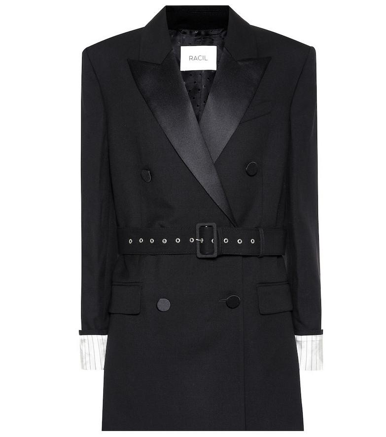 Racil Farrah satin and wool blazer in black