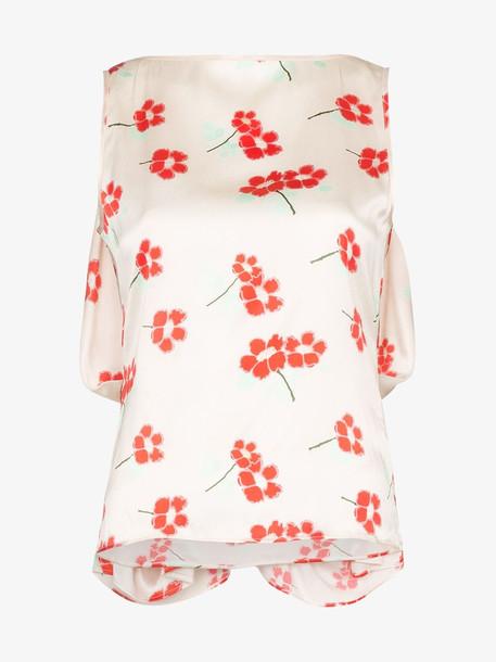 Bernadette Draped Knot Back Floral Print Silk Blouse