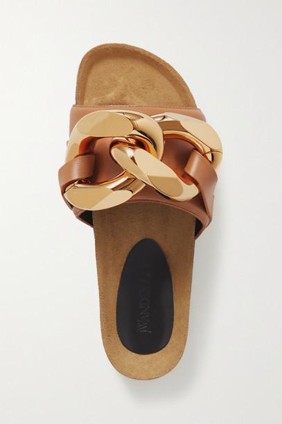JW Anderson - Chain-embellished Leather Slides - Brown