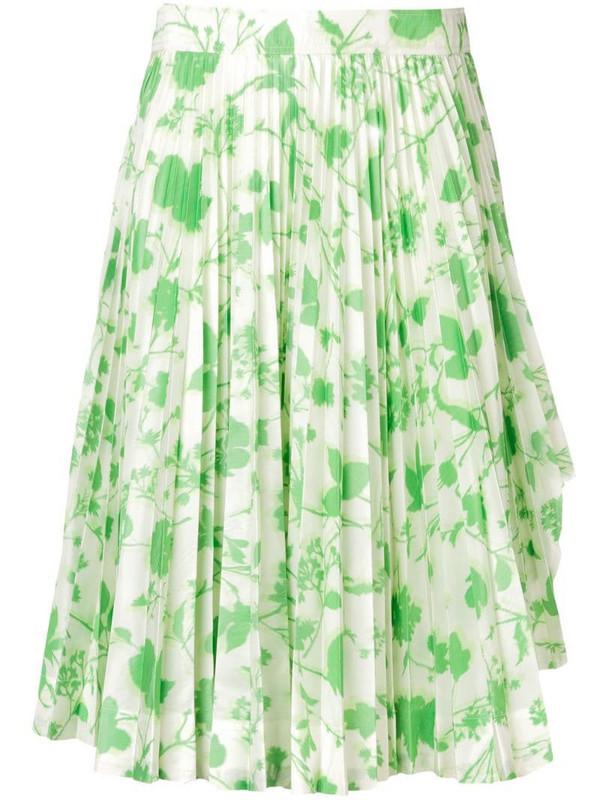 Calvin Klein 205W39nyc floral print pleated skirt in green