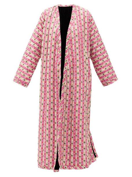 Muzungu Sisters - Tatiana Botanical-print Linen Coat - Womens - Pink Multi