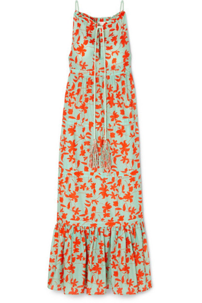 Eywasouls Malibu - Stevee Tiered Printed Cotton-voile Maxi Dress - Turquoise