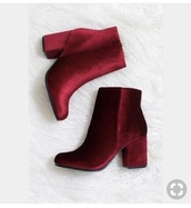 shoes,burgundy,red,velvet,ankle boots,heels