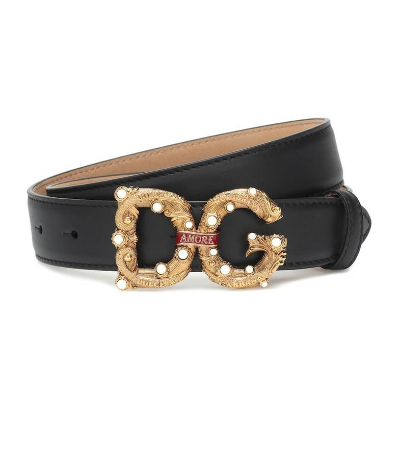 Dolce & Gabbana DG Amore logo leather belt in black