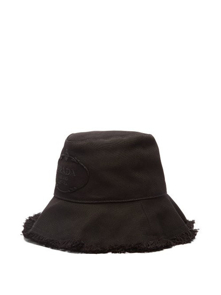 Prada - Logo Embroidery Cotton Bucket Hat - Womens - Black
