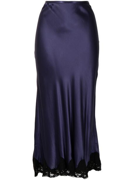 Rixo lace-trim satin midi skirt - Blue