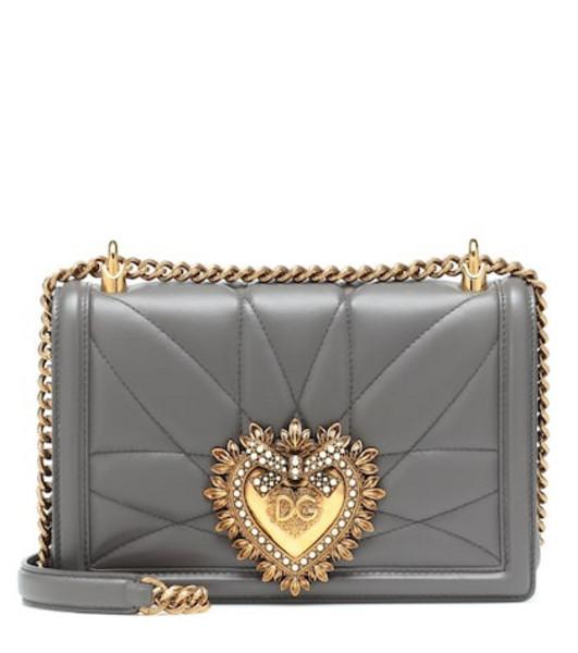Dolce & Gabbana Medium Devotion leather shoulder bag in grey