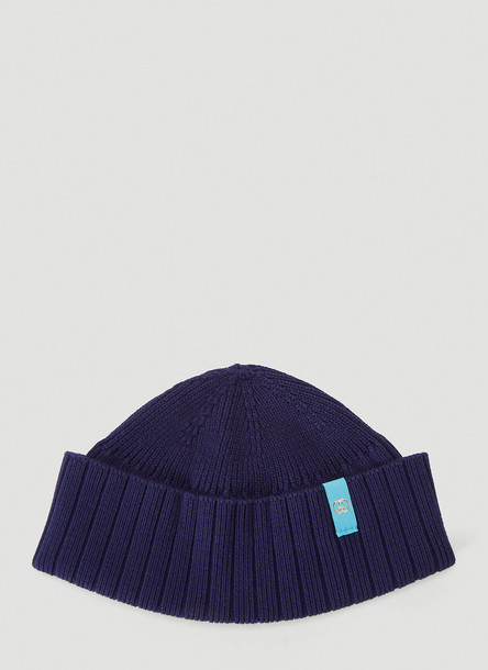 Gucci Fine-Knit Beanie Hat in Blue size M