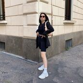 pants,black leggings,black shorts,sneakers,black blazer,black top,shoulder bag