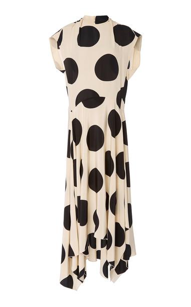 Petar Petrov Daly Asymmetric Polka-Dot Silk-Crepe Midi Dress in white