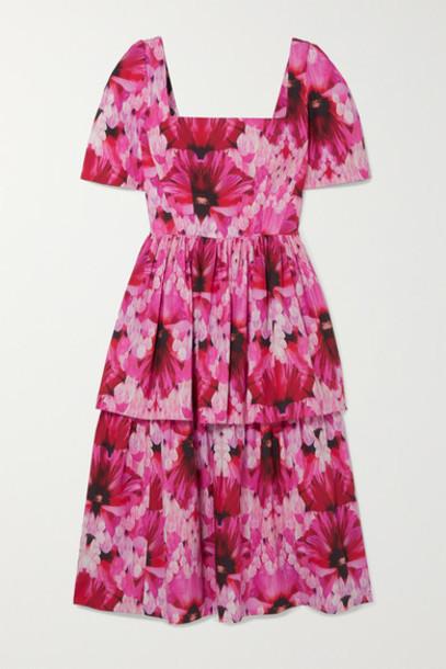 Alexander McQueen - Tiered Printed Cotton-poplin Midi Dress - Pink