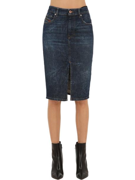 DIESEL Longuette Mid Rise Cotton Denim Skirt in blue