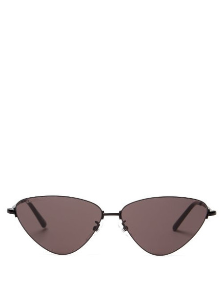 Balenciaga - Cat Eye Metal Sunglasses - Womens - Black