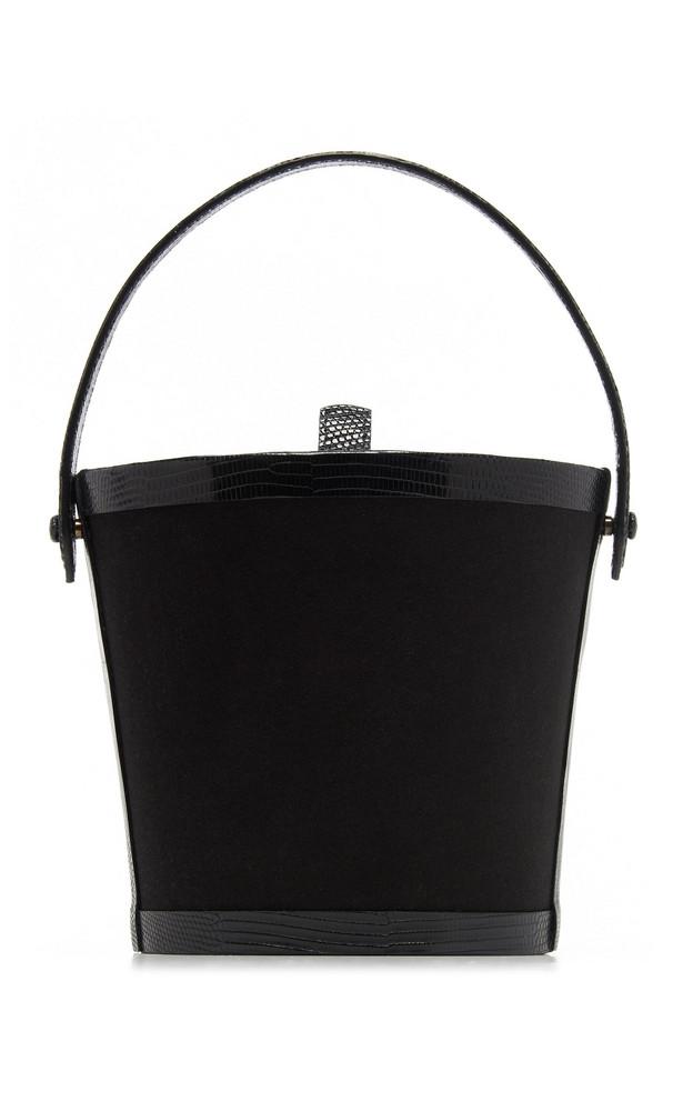 Hunting Season Lizard-Trimmed Satin Bucket Bag in black