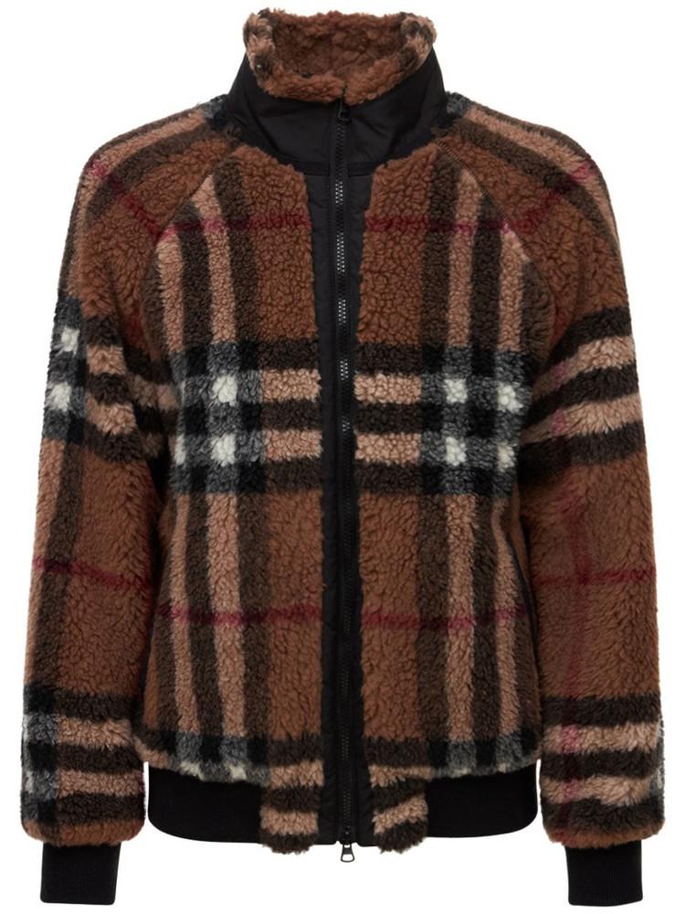 BURBERRY Check Print Virgin Wool Blend Jacket in brown