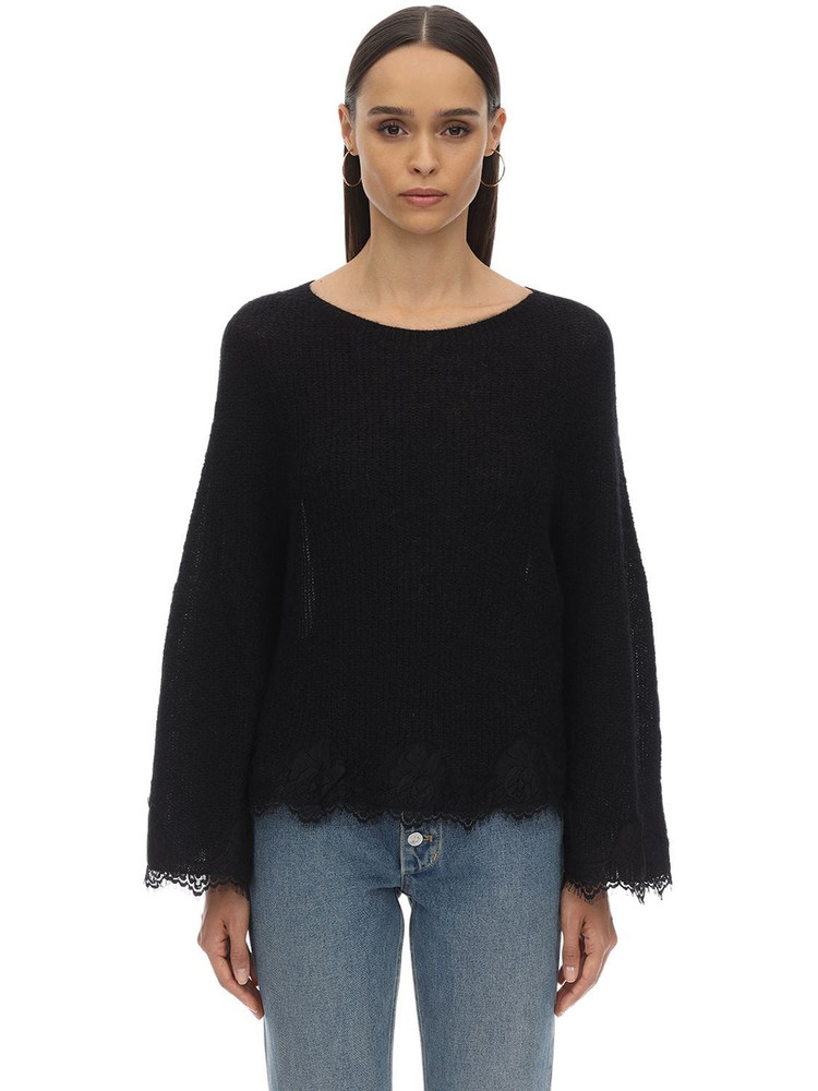 PINK MEMORIES Mohair Blend Lace Knit Sweater in black