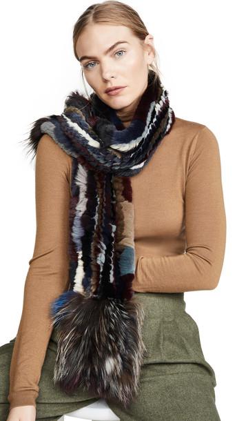 Adrienne Landau Knit Rex Rabbit Scarf With Fox Trim in multi