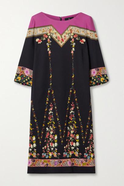 Etro - Floral-print Crepe De Chine Dress - Black