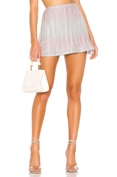 superdown Willow Pleated Mini Skirt in metallic / silver