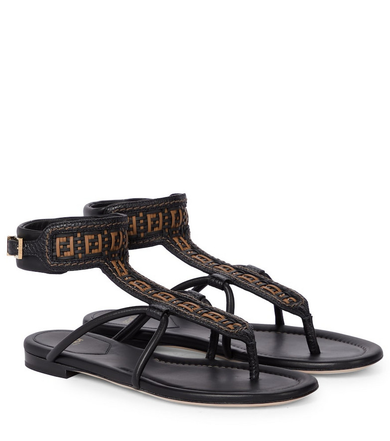 Fendi FF Interlace leather thong sandals in black