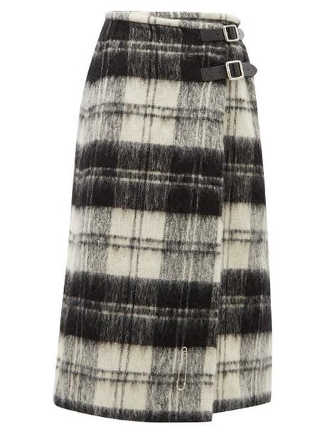 Le Kilt - Wrap Tartan Wool Kilt Midi Skirt - Womens - Black White